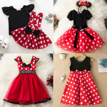 Dress female Other / other Cotton 80% other 20% summer Europe and America Short sleeve Cartoon animation Cotton blended fabric A-line skirt Class A