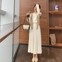 skirt Autumn 2020 S, M Off white, black, brown longuette commute High waist A-line skirt Solid color Type A X141 other Other / other polyester fiber Simplicity