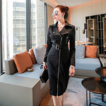 Dress Spring 2021 black S,M,L,XL Middle-skirt singleton  Long sleeves commute V-neck High waist Solid color zipper One pace skirt routine Others 25-29 years old Type A lady Pocket, zipper