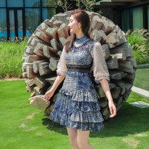 Dress Summer 2021 Decor S,M,L,XL Short skirt singleton  elbow sleeve commute other High waist Decor zipper A-line skirt other Others 25-29 years old Type A lady Ruffle, stitching, zipper