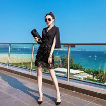 Dress Summer of 2019 Black, white S,M,L,XL Short skirt Fake two pieces three quarter sleeve commute V-neck High waist Solid color zipper One pace skirt routine Others 25-29 years old Type A lady Tassels, stitching, sequins, zippers