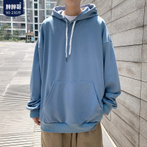Sweater Youth fashion Chubby brother Black, white, blue, yellow, orange, greyish green, > Click to view size < shoot this default hair blue S,M,L,XL,2XL,3XL,4XL,5XL Solid color Socket routine Hood spring easy leisure time youth tide routine No iron treatment Kangaroo pocket