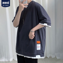 T-shirt Youth fashion White, black, gray, light green, > Click to view size < shoot this default hair black routine M. L, XL, 2XL, XXXL (170-190 kg), XXXXL (190-210 kg), XXXXXL (210-230 kg) Chubby brother Short sleeve Crew neck easy Other leisure summer youth routine tide 2021 other printing