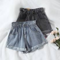 Jeans Summer 2021 Black grey , Light blue S,XL,L,M,XXL shorts High waist Wide legged trousers routine 18-24 years old Wash, zipper, button other light colour cherry & sheep 51% (inclusive) - 70% (inclusive)
