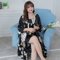 Nightdress Other / other 9901 two piece set, 9902 two piece set, 9903 two piece set L (120-150 kg), XL (150-180 kg), 2XL (180-210 kg), 3XL (210-240 kg), 4XL (240-270 kg), 5XL (270-300 kg) sexy Short sleeve pajamas Middle-skirt summer Plants and flowers youth V-neck Iced silk printing More than 95%