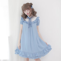 Dress Summer 2017 Blue, black, pink, B-line blue M Short skirt 18-24 years old Dolly+Delly DD-0288 More than 95% polyester fiber