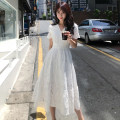 Dress Summer of 2019 S,M,L,XL,2XL Mid length dress singleton  Short sleeve commute V-neck High waist Solid color zipper Big swing Petal sleeve Others 25-29 years old Type A Other / other Korean version 81% (inclusive) - 90% (inclusive) other cotton
