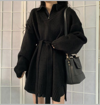 Women's large Autumn 2020 Pink sweater, apricot shirt, black sweater, black shirt, pink sweater + apricot shirt two sets, black sweater + black shirt two sets Large L, large XL, s, M singleton  commute Straight cylinder Long sleeves Solid color Medium length other routine 18-24 years old