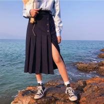 skirt Spring of 2019 S,M,L Dark blue Middle-skirt commute High waist Pleated skirt Solid color Type A 18-24 years old 71% (inclusive) - 80% (inclusive) Wool Korean version 161g / m ^ 2 (including) - 180g / m ^ 2 (including)
