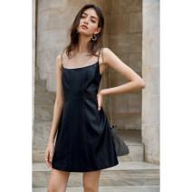 Dress Summer 2020 black S,M,L Short skirt singleton  Sleeveless commute square neck High waist Solid color zipper A-line skirt other camisole Type A amyenjoylife Simplicity