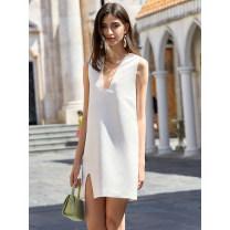 Dress Summer 2020 White, black S,M,L Mid length dress singleton  Sleeveless commute V-neck Elastic waist Solid color Socket other other Others Type H amyenjoylife Simplicity