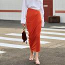 skirt Autumn of 2019 S,M,L orange Mid length dress street High waist Irregular Solid color Type O amyenjoylife Europe and America