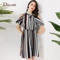 Dress Summer 2020 navy blue 155/S 160/M 165/L 170/XL Mid length dress singleton  Short sleeve commute Crew neck High waist stripe Socket A-line skirt other Others 30-34 years old Type A Ditto / ditto lady Frenulum TPBD896 More than 95% polyester fiber Polyester 98% other 2%