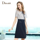 Dress Summer 2020 black 155/S 160/M 165/L 170/XL Mid length dress Fake two pieces Short sleeve commute Crew neck High waist Solid color Socket A-line skirt routine Others 30-34 years old Type A Ditto / ditto lady Lace with lace ERBD926 51% (inclusive) - 70% (inclusive) nylon