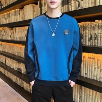 T-shirt Youth fashion Blue black green routine M L XL 2XL 3XL 4XL Long sleeves Crew neck easy Other leisure autumn Polyester 100% youth routine tide Knitted fabric Autumn 2020 Geometric pattern Rib decoration polyester fiber Geometric pattern No iron treatment Fashion brand More than 95%