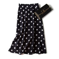 skirt Spring 2021 S,M,L,XL,155/80B(S),160/68B(M),165/72B(L),170/76B(XL) Black background white dots, apricot background black dots, yellow background printing, black background small chrysanthemum, green background small daisy, beige sketch fog blue flower, light green sketch pink flower commute Dot