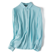 shirt S,M,L,XL Autumn of 2018 silk 96% and above Long sleeves commute Regular Crew neck Single row multi button shirt sleeve Solid color Straight cylinder Pu Xu Retro
