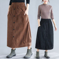 skirt Winter 2020 Average size [90-160 Jin] Black, coffee Mid length dress Versatile Natural waist Flower bud skirt Solid color Type A 25-29 years old 51% (inclusive) - 70% (inclusive) corduroy other
