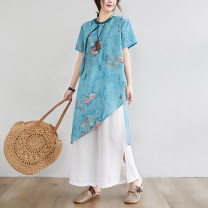 Women's large Summer 2020 Apricot, purple, blue Big XL, big XXL, big L, big M Two piece set commute Straight cylinder Socket Short sleeve Broken flowers ethnic style stand collar Medium length cotton routine 35-39 years old Button 96% and above