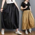 Women's large Summer 2021 Khaki, black trousers singleton  commute easy moderate Solid color literature cotton pocket 81% (inclusive) - 90% (inclusive) trousers