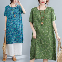 Women's large Summer 2020 Blue flowers, green flowers, Tibetan blue flowers Large L [100-150 Jin], large XL [140-175 Jin] Dress singleton  commute easy Socket Short sleeve Decor ethnic style Crew neck Cotton, hemp routine pocket Medium length other