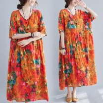 Women's large Summer 2021 Graph color One size fits all Dress singleton  easy thin Socket Short sleeve Decor V-neck cotton Medium length