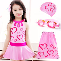 Children's swimsuit / pants You you Black red a pink love + matching cap B pink love 3-piece set (swimming goggles) B pink love 3-piece set (swimming bag) C pink love 4-piece set Children's one piece swimsuit female other Summer 2016 yes