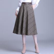 skirt Winter 2020 20/M 21/L 22/XL 23/XXL 24/3XL 25/4XL Brown check grey check Mid length dress Versatile High waist A-line skirt lattice Type A MTYR2067 Tshinelife / tshanelife zipper Pure e-commerce (online only)