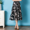 skirt Summer 2017 M L White flowers on black background Mid length dress commute High waist Splicing style Big flower Type A More than 95% Chiffon Tshinelife / tshanelife polyester fiber Ruffle stitching Korean version Polyester 100% Pure e-commerce (online only)