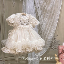 Dress Off white, hairband female Other / other 80cm, 90cm, 100cm, 110cm, 120cm, 130cm, one size Cotton 100% summer Short sleeve cotton A-line skirt 12 months, 9 months, 18 months, 2 years old, 3 years old, 4 years old, 5 years old, 6 years old