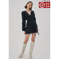 Dress Winter 2020 Black, white, virtual inventory, please check code before shooting, genuine authorization, please rest assured to buy XXS,XS,S,M,L Short skirt singleton  Long sleeves commute V-neck High waist Solid color Socket other puff sleeve Others 25-29 years old Type A cmeo Simplicity