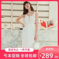 Dress Summer 2020 white S,L,M Short skirt singleton  Long sleeves commute square neck High waist Solid color zipper A-line skirt puff sleeve Others 25-29 years old Yigelila Nail bead 81% (inclusive) - 90% (inclusive) other polyester fiber