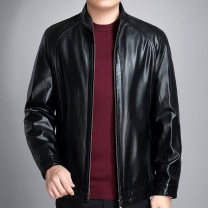 leather clothing Others Business gentleman black routine Imitation leather clothes stand collar easy zipper autumn go to work middle age Business Casual Side seam pocket
