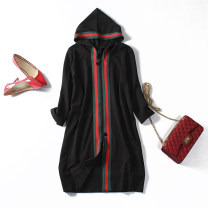 Dress Spring 2020 black L,XL,2XL,3XL,4XL Mid length dress singleton  three quarter sleeve street Hood Loose waist Solid color zipper A-line skirt routine Others Type A Splice, threaded More than 95% knitting cotton Europe and America