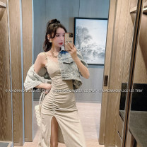 Dress Summer 2021 Black, gray Average size Short skirt singleton  Sleeveless commute Crew neck High waist Solid color Single breasted One pace skirt routine camisole 18-24 years old Type A LADIES FIRST Splicing D3214 51% (inclusive) - 70% (inclusive) other cotton