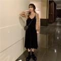 Fashion suit Autumn 2020 Average size Coffee color floral top, apricot color floral top, white floral top, black velvet skirt 18-25 years old 51% (inclusive) - 70% (inclusive)