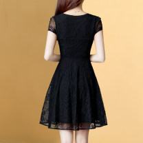 Dress Summer 2021 black M,L,XL,2XL,3XL Middle-skirt singleton  Short sleeve commute Crew neck middle-waisted Solid color Socket A-line skirt routine Others 30-34 years old Type A Weiwei Korean version Hollowed out, Gouhua hollowed out, zipper, lace HG5365SXL Lace
