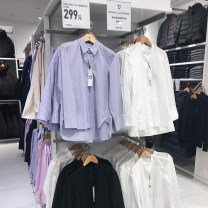 shirt Black, white, light rice, Navy, light blue purple XS,S,M,L,XL Spring 2021 cotton 96% and above Long sleeves Versatile Regular stand collar Single row multi button routine Solid color 18-24 years old Straight cylinder U-2021-436189 Button pure cotton