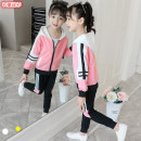 suit Other / other female spring and autumn motion Long sleeve + pants 2 pieces routine There are models in the real shooting Zipper shirt No detachable cap Solid color cotton children Giving presents at school