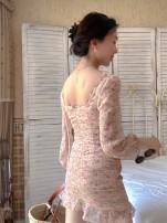 Dress Spring 2021 Sweet flowers S,M,L Short skirt singleton  Long sleeves Sweet square neck middle-waisted Decor puff sleeve 25-29 years old Type O Muzimuli / muzimuli C863j755 31% (inclusive) - 50% (inclusive) Countryside