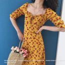 Dress Summer of 2019 Yellow red short, yellow red long, purple short, purple long M,S,L singleton  elbow sleeve commute One word collar High waist Decor Muzimuli / muzimuli lady 9029P038