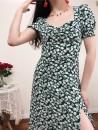 Dress Summer 2020 Blue white short sleeve 4647, green short sleeve 582 S,M,L Mid length dress Short sleeve square neck puff sleeve Muzimuli / muzimuli 582c1360