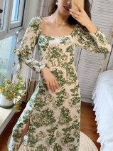 Dress Spring 2021 Green flower S,M,L longuette singleton  Nine point sleeve Sweet square neck middle-waisted Decor 18-24 years old Type A Three dimensional decoration Countryside