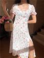 Dress Spring 2020 White, sky blue S,M,L longuette singleton  Short sleeve commute High waist Type A Muzimuli / muzimuli lady C663d844 31% (inclusive) - 50% (inclusive)