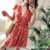 Dress Summer of 2018 Orange S,M,L Short skirt singleton  Sweet V-neck High waist other 18-24 years old Type A Y196Z017 81% (inclusive) - 90% (inclusive) cotton Countryside