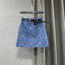 skirt Summer 2021 S,M,L,XL Dark blue, light blue Short skirt commute High waist Denim skirt letter Type A 25-29 years old More than 95% Denim cotton Pocket, button, zipper Korean version