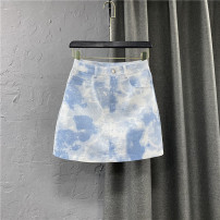 skirt Summer 2021 S,M,L,XL Gray, blue Short skirt commute High waist A-line skirt Solid color Type A 25-29 years old 91% (inclusive) - 95% (inclusive) other cotton Pocket, button, zipper Korean version
