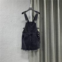 skirt Summer 2021 S,M,L,XL black Short skirt commute High waist Strapless skirt Solid color Type A 25-29 years old More than 95% Denim cotton Pocket, button Korean version