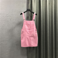 Dress Summer 2021 White, blue, pink S,M,L,XL Short skirt singleton  Sleeveless commute other High waist Solid color Socket other straps 25-29 years old Type H Korean version Pockets, straps, buttons More than 95% cotton