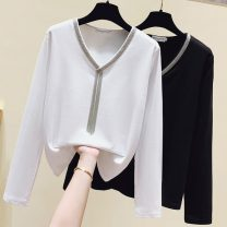 T-shirt White, black, at this price, we will send out a piece of clothing for changing seasons randomly S,M,L,XL Autumn 2020 Long sleeves V-neck easy Regular routine commute cotton 71% (inclusive) - 85% (inclusive) 25-29 years old Korean version Solid color